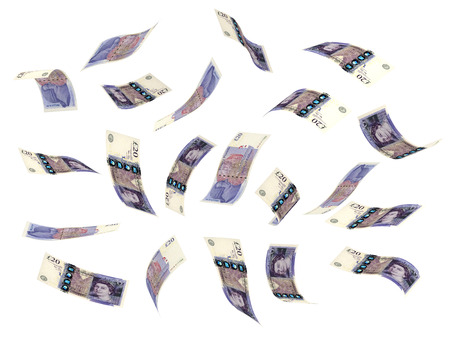 Flying Pounds (isolated on white) Stock Photo