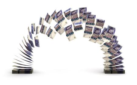 dinero volando: Libra Transfer aislado en blanco