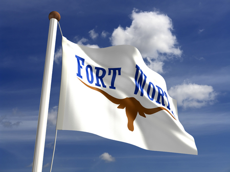 Fort Worth City flag  isolated  Imagens