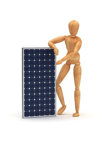 marioneta de madera: Panel solar Foto de archivo