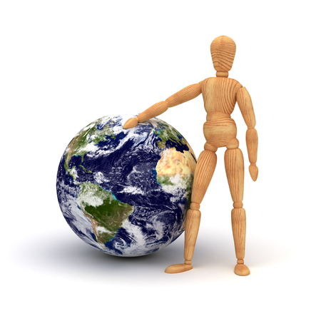 lifting globe: Save the planet Stock Photo