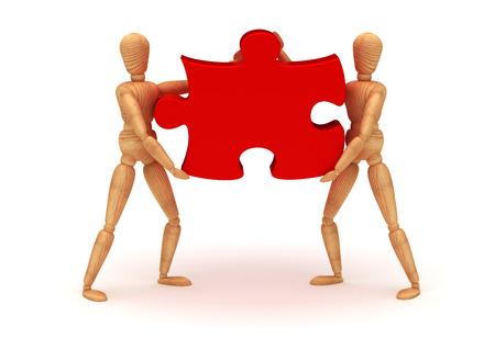 wooden mannequin: Teamwork