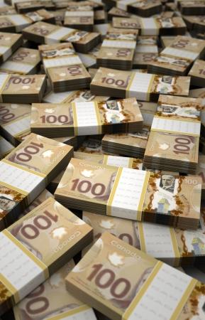 canadian dollar: Stack of Canadian Dollar Stock Photo