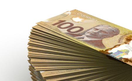 canadian cash: Stack of Canadian Dollar  isolated with clipping path  Stock Photo