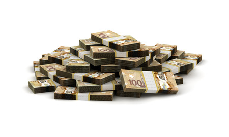 canadian currency: Stack of Canadian Dollar Stock Photo