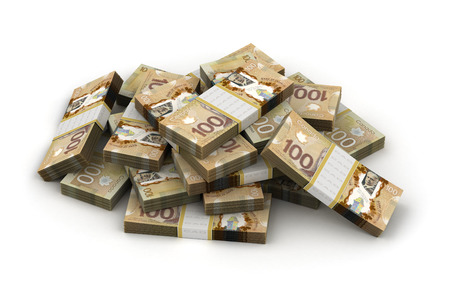 canadian cash: Stack of Canadian Dollar Stock Photo