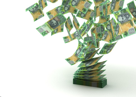 australian dollars: Flying Australian Dollar  isolated with clipping path  Stock Photo