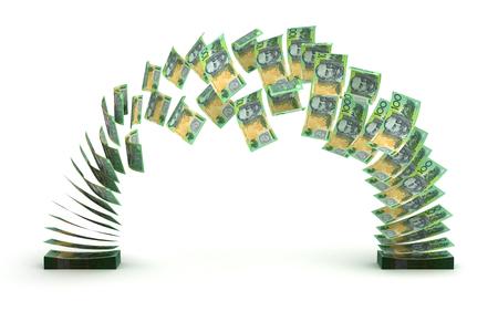 dinero volando: Transferencia Dólar australiano Foto de archivo