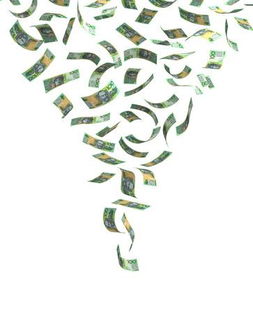money flying: Flying Dólar australiano aislado con trazado de recorte Foto de archivo
