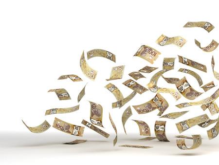 Flying Canadian Dollar  isolated  Standard-Bild