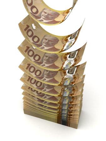 canadian dollar: Flying Canadian Dollar  isolated  Stock Photo