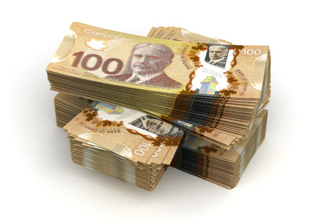 canadian currency: Stack of Canadian Dollar  isolated