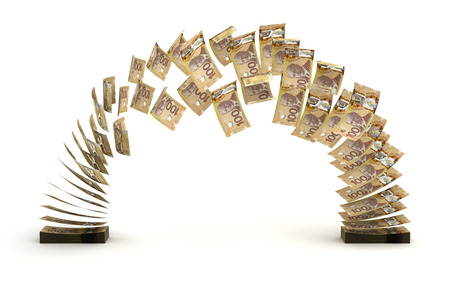 canadian currency: Canadian Dollar Transfer  isolated  Stock Photo