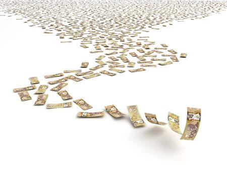 canadian dollar: Falling Canadian Dollar  isolated