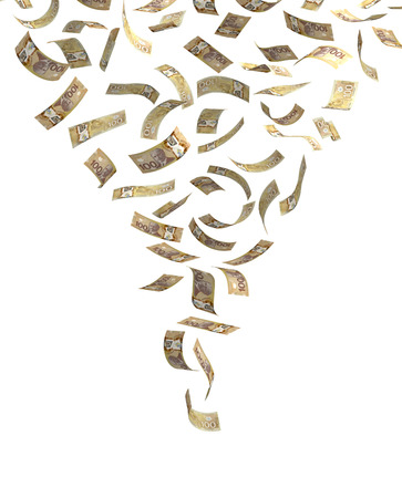 money flying: Falling aislado Dólar canadiense
