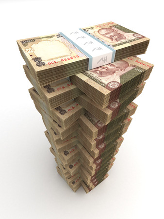 Tower of Indian Rupee Stock Photo