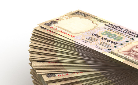 indian money: Stack of Indian Rupee