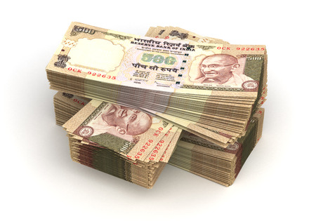 paper currency: Stack of Indian Rupee  isolated with clipping path