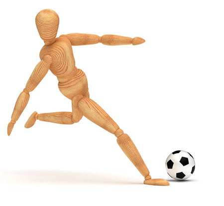 wooden doll: Soccer Player
