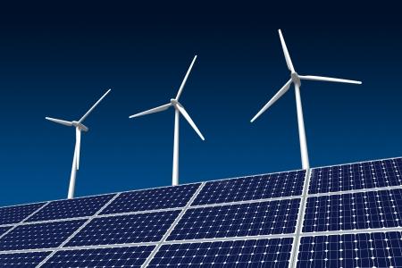 wind energy: Wind Turbine and Solar Panel