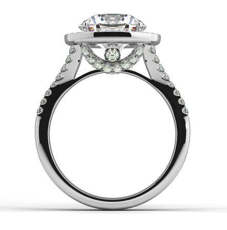platinum wedding ring: Multi diamonds ring on white