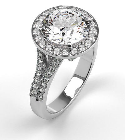 ring light: Multi diamonds ring on white