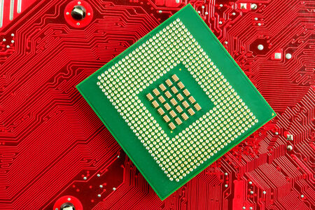microprocessor: Microprocessor on Circuit Stock Photo