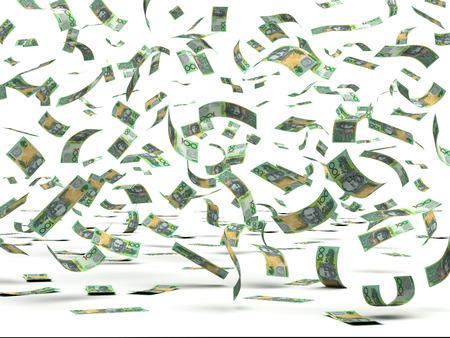 Vliegende Australische Dollars geïsoleerd met het knippen van weg