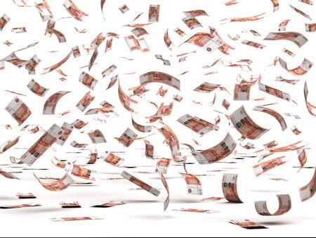 dinero volando: Flying Rublo ruso aislados con trazado de recorte
