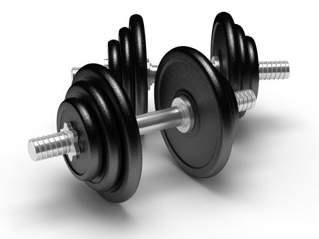 Two dumbbells on white photo