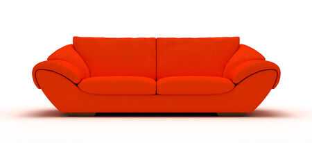 Leather Orange Sofa photo