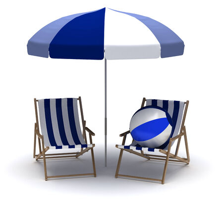 Beach Chairs and Umbrella photo