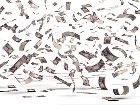 dinero volando: Flying Yenes Japoneses aislados con trazado de recorte