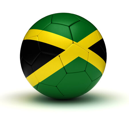 jamaican flag: Jamaican Football  isolated with clipping path  Stock Photo