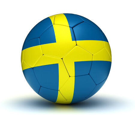 sweden flag: Swedish Football  isolated with clipping path  Stock Photo