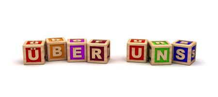 ber: ?ber Uns Play Cubes Stock Photo