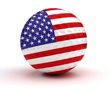 3d ball: American Golf Ball (Isolated with clipping path)