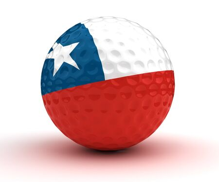 bandera de chile: Pelota de golf de Chile (aislado con trazado de recorte)