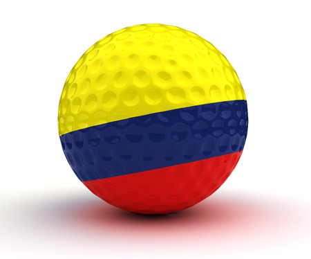colombian: Colombian Golf Ball (Isolated with clipping path) Stock Photo