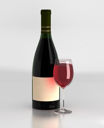 merlot: Wine Bottle  and Wineglass