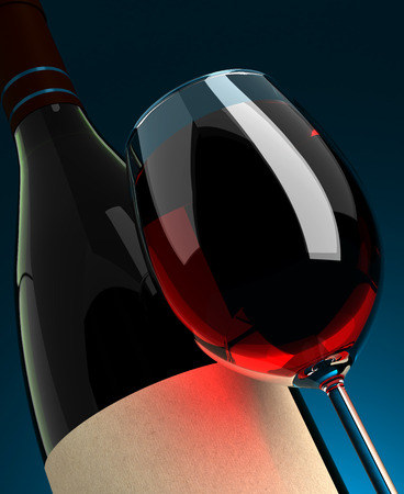 bottle label: Wineglass and Bottle Closeup