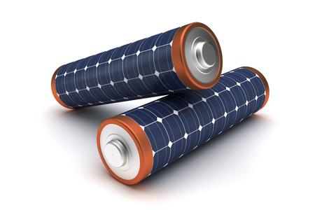 electricity generation: Solar Energy Batteries Stock Photo