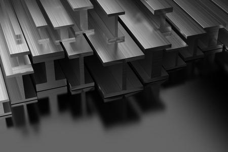 siderurgia: Perfiles de acero en el fondo negro