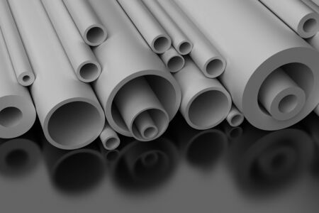 industrial products: Pilastic Pipes on black background Stock Photo
