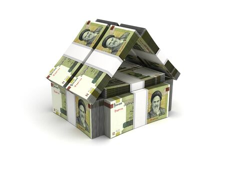 iranian: Real Estate Concept Iranian Rial Stock Photo