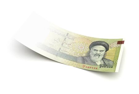 bad economy: Bad economy Iranian Rial isolated with clipping path Stock Photo