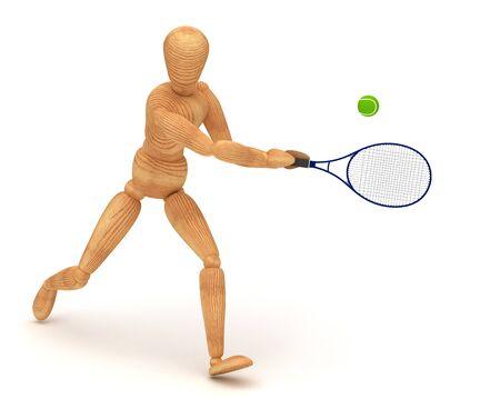 wooden mannequin: Tennis Player Stock Photo