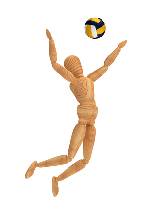 wooden doll: Volleyball Player Stock Photo