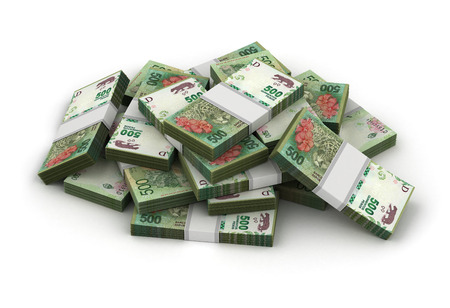 signo de pesos: Pila de Pesos Argentina (aislado sobre fondo blanco)