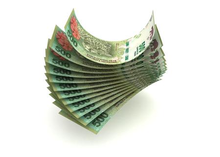 signo de pesos: Pesos de Argentina (aislado con saturación camino)